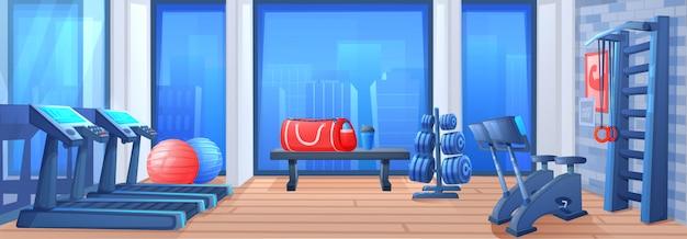 Sport gym club interior room Premium Vector