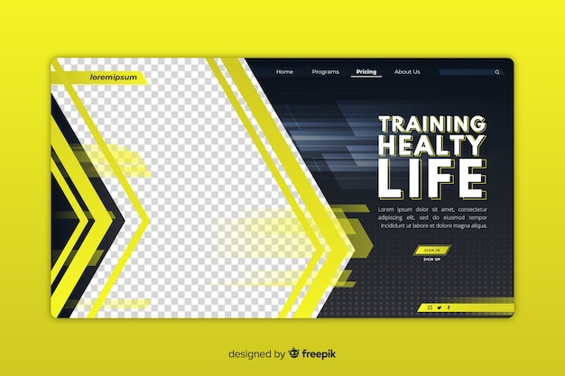 Sport gym landing page Free Vector
