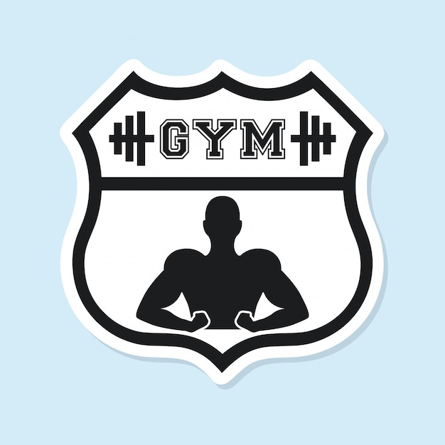 Sport gym logo graphic design Free Vector