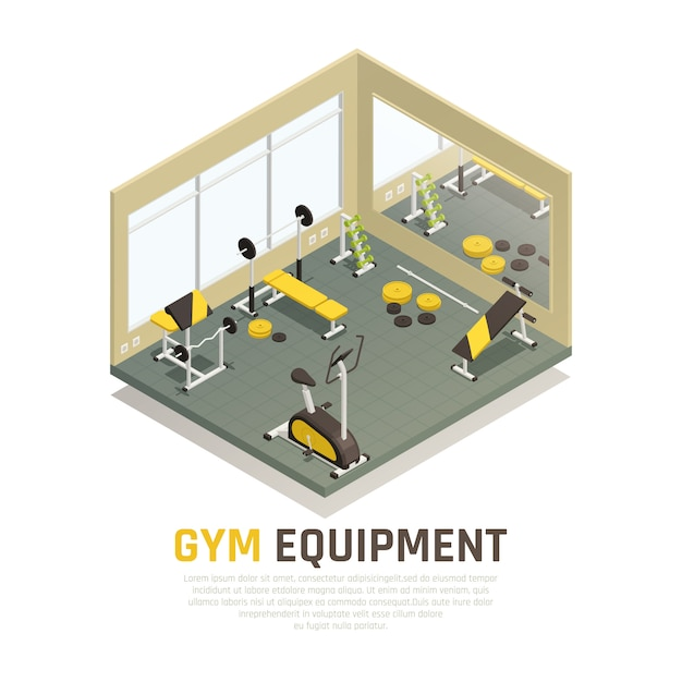 Sport hall with black yellow exercise equipment and mirror on wall isometric composition Free Vector