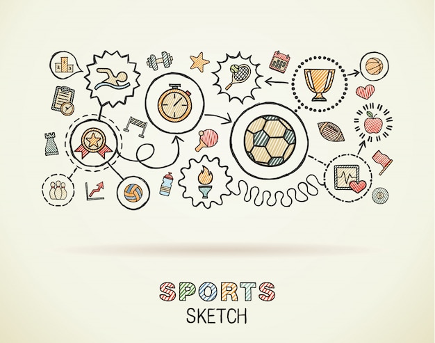 Sport hand draw integrated icons set on paper. colorful  sketch infographic illustration. connected doodle color pictograms, swimming, football, soccer, game, fitness, activity concept Premium Vector