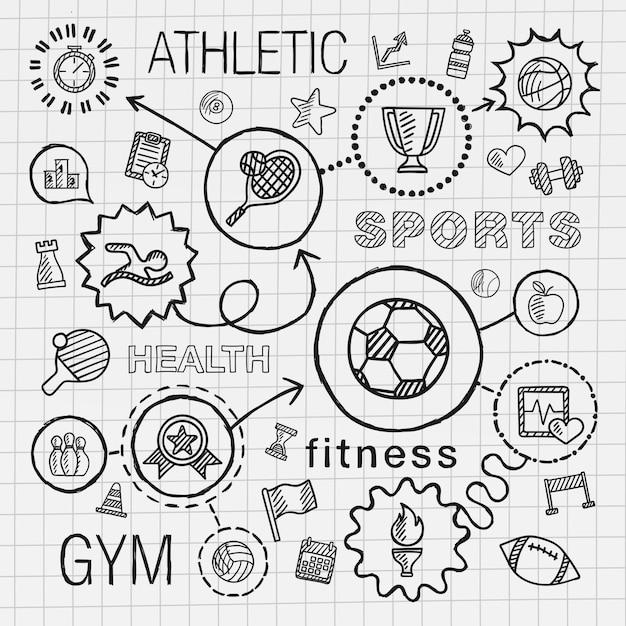 スポーツ手は統合されたアイコンセットを描画します。学校の紙に線接続落書きハッチピクトグラムとインフォグラフィックイラストをスケッチします。競争、ボール、遊び、サッカー、テニス、カップ記号、ゲームのコンセプト Premiumベクター