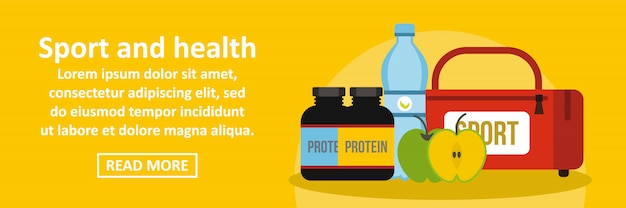 Sport and health banner horizontal concept Premium Vector