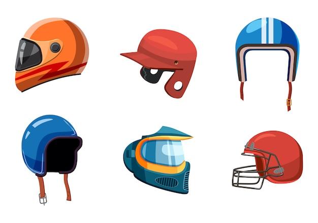 Sport helmet elements set. cartoon set of sport helmet Premium Vector