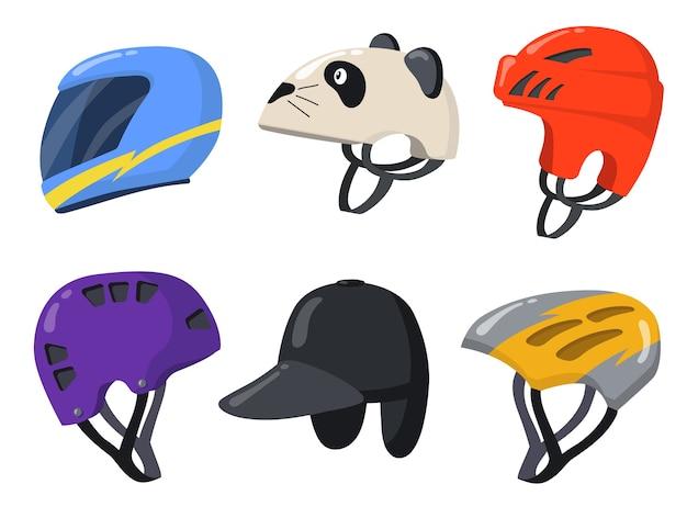 Set piatto di caschi sportivi per motociclisti e motociclisti. protezione vintage del fumetto per raccolta di illustrazione vettoriale isolato moto, moto o auto. elementi di design per il concetto di gara Vettore gratuito