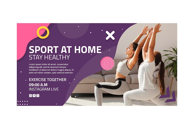 Sport at home banner template Free Vector