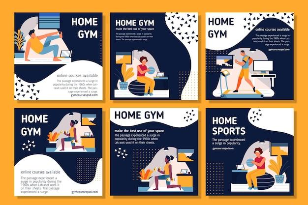 Post di instagram di sport a casa Vettore gratuito