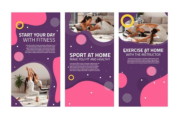 Sport at home instagram stories Premium Vector