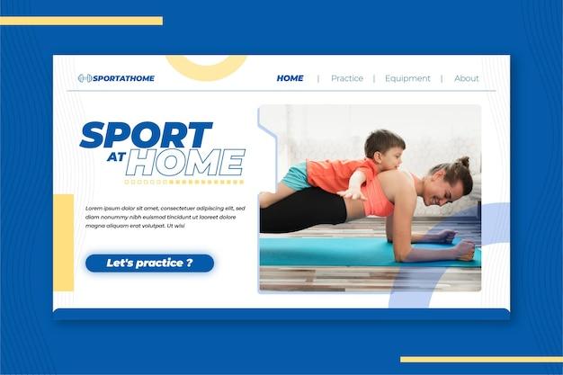 Pagina di destinazione dello sport a casa Vettore gratuito
