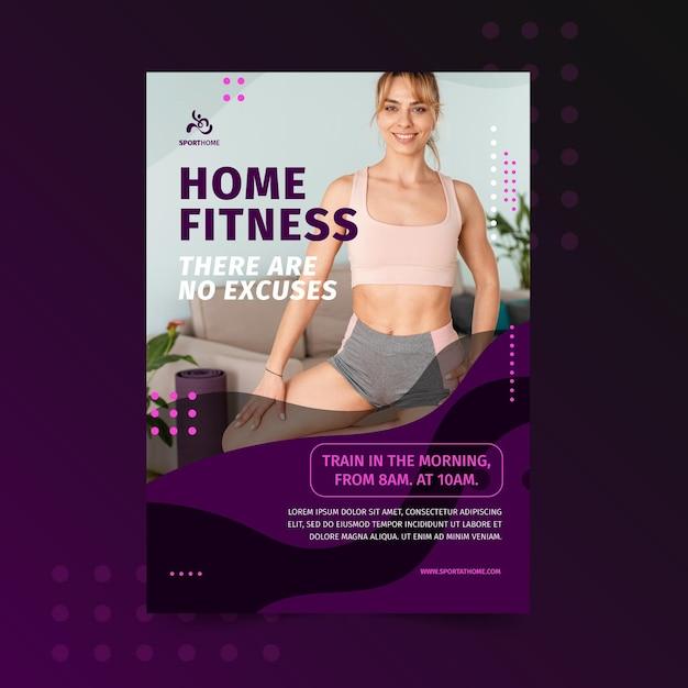 Modello di poster di sport a casa Vettore gratuito