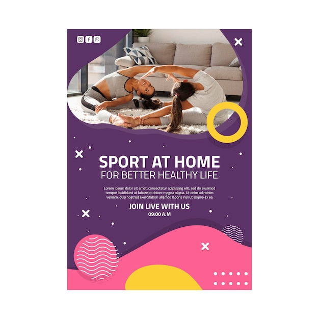 Sport at home poster template Free Vector