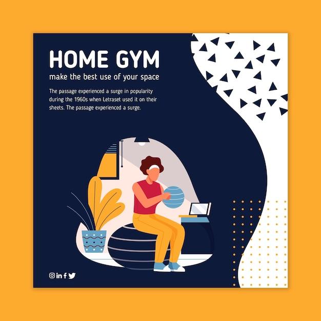 Sport a casa design volantino quadrato Vettore gratuito