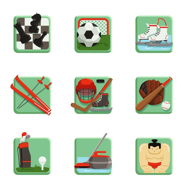 Sport icons set, chess, baseball, football, hockey, golf, sumo, soccer, curling, ski and skating sport  illustrations Premium Vector
