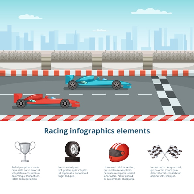Sport infographic with race cars of formula one. different cars and driver tools Premium Vector