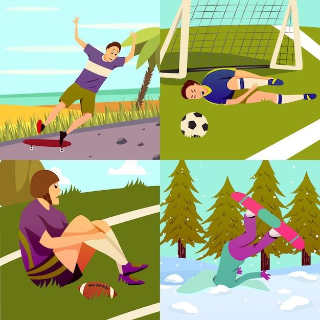 스포츠의 다른 종류와 사각형 작곡의 스포츠 부상 평면 화려한 디자인 컨셉 세트 무료 벡터