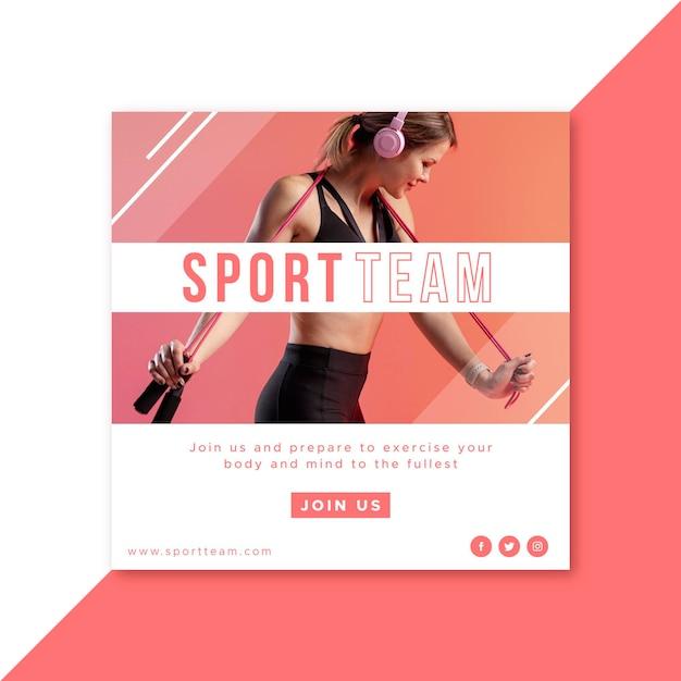 Спортивный шаблон поста instagram Бесплатные векторы