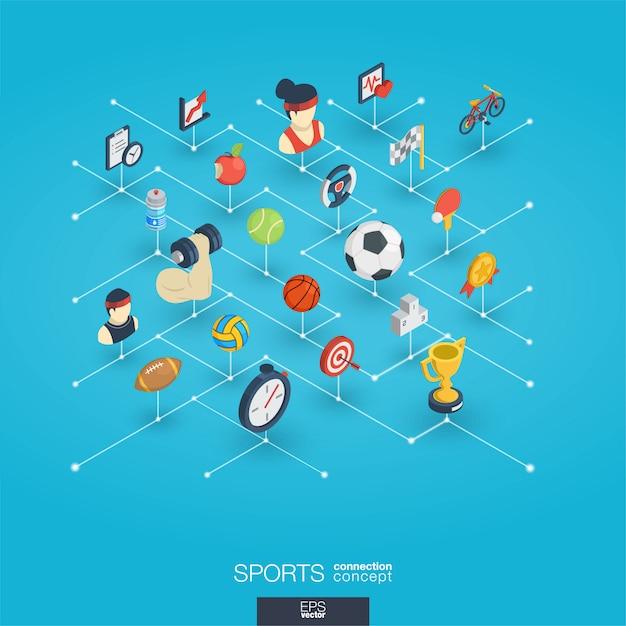 Sport integrated 3d web icons. digital network isometric concept. Premium Vector