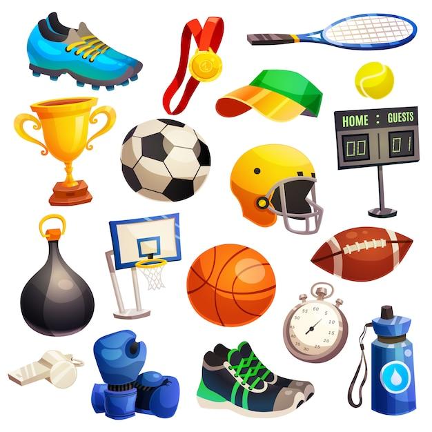 Sport inventory decorative icons set Free Vector