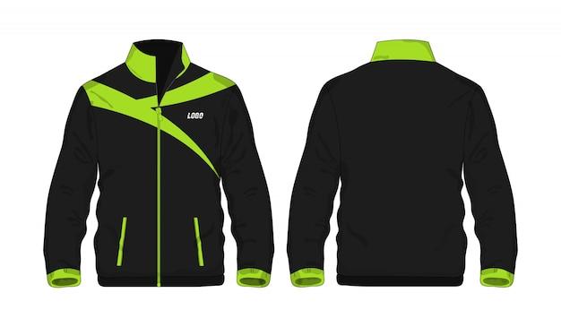 白い背景のデザインのスポーツジャケットの緑と黒のテンプレート。 Premiumベクター