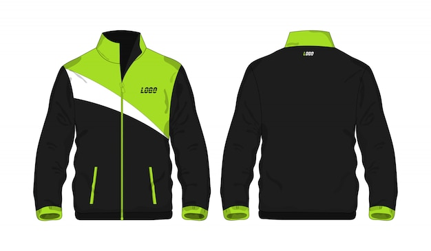 Sport jacket green and black template for design on white background. Premium Vector