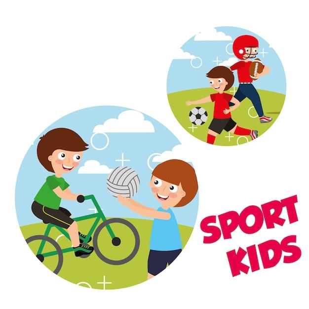 スポーツキッズ活動bycicleバレーボールサッカー Premiumベクター