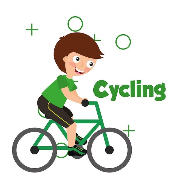 スポーツキッズ活動サイクリング少年ライディングbycicle Premiumベクター