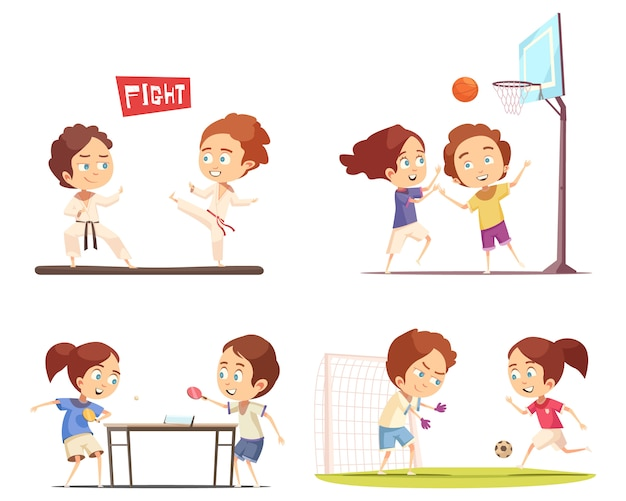 Sport kids scene collection Free Vector
