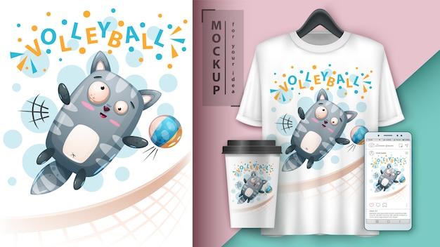 Sport kitty volleyball illustration Premium Vector
