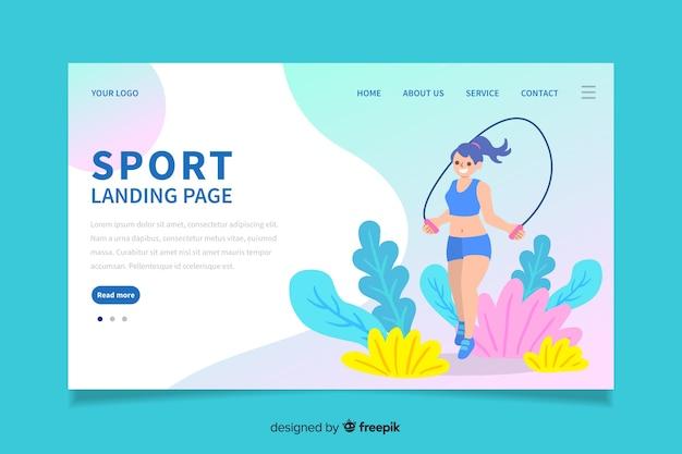 Sport landing page flat design Free Vector