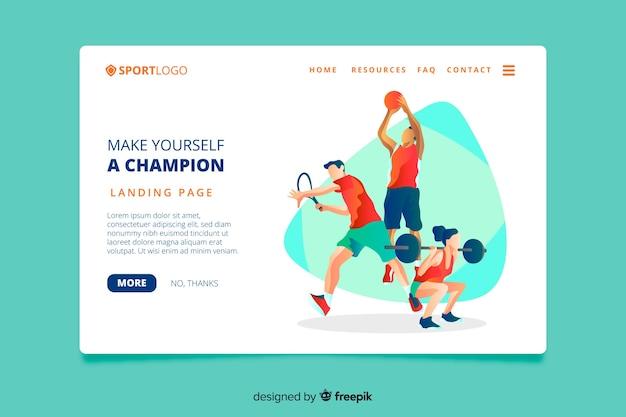 스포츠 방문 페이지 평면 디자인 무료 벡터