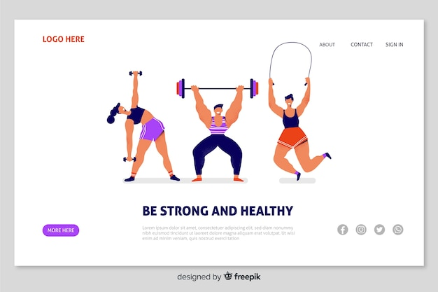 Sport landing page flat design Free Vector