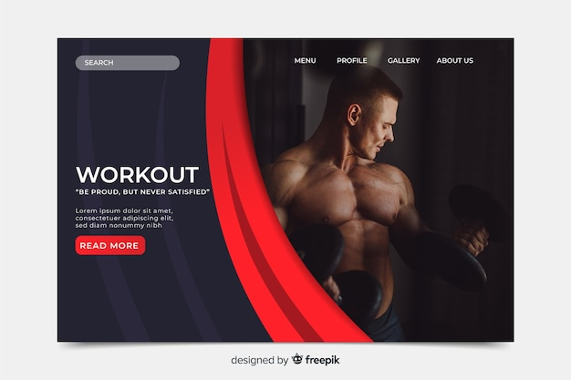 Sport landing page template with photo Free Vector