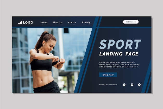 Sport landing page template with picture Free Vector