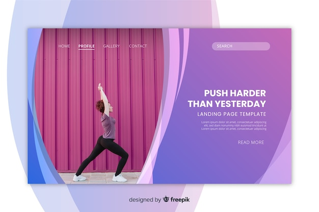 Sport landing page template with woman doing yoga photo Free Vector