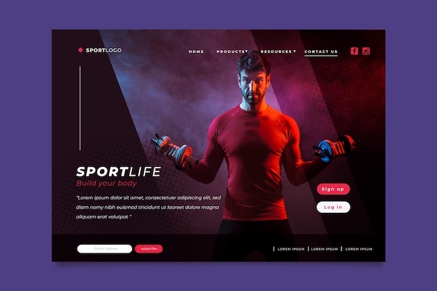 Sport landing page template Free Vector