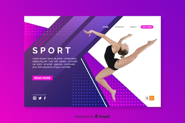 Sport landing page with ballet dancer Free Vector