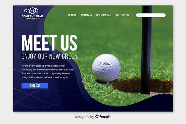 Sport landing page with golf photo Free Vector