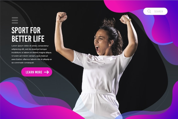 Sport landing page with image template Free Vector