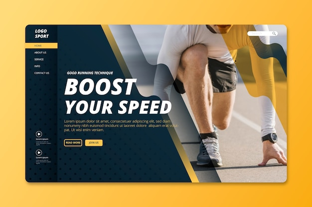 Sport landing page with image Free Vector