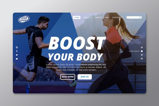 Sport landing page with people running photo Free Vector