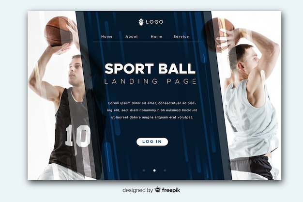 Sport landing page with photo and diagonal copy-space Free Vector
