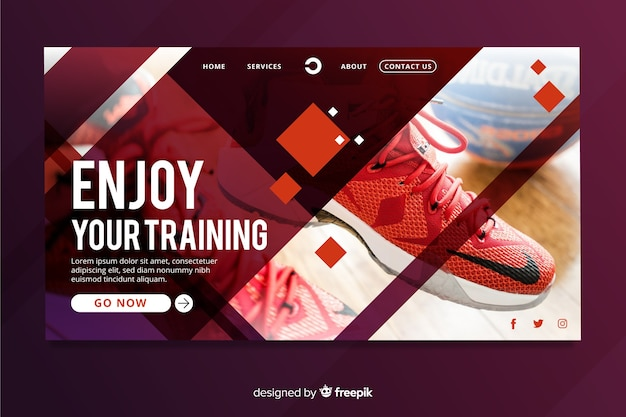 Sport landing page with photo and geometric shapes Free Vector