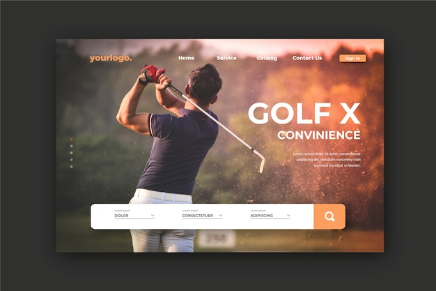 Sport landing page with photo of man playing golf Free Vector