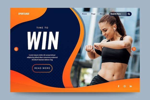 Sport landing page with photo template Free Vector