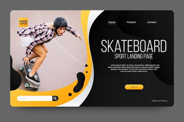 Sport landing page with photo with skateboarder Free Vector