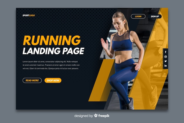 Sport landing page with photo Free Vector