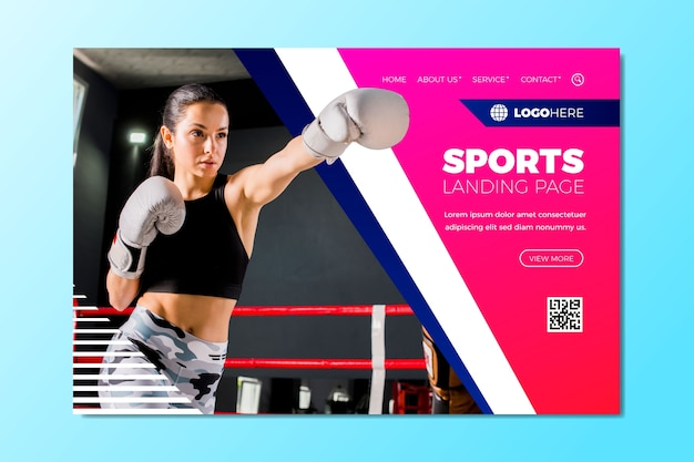 Sport landing page with pic template Free Vector