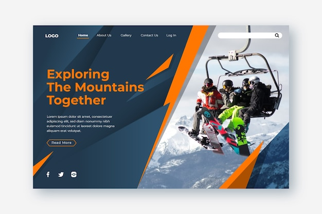 Sport landing page with pic Free Vector