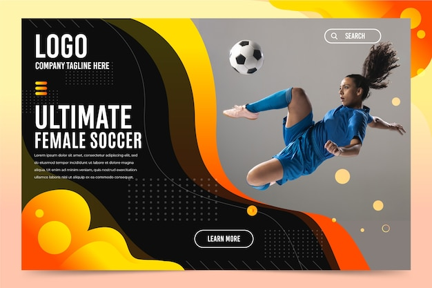 Sport landing page with picture template Free Vector