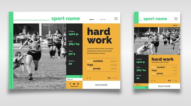 Sport landing page with picture Free Vector